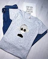 Женская модная футболка  з хлопка с принтом на лето (серая)