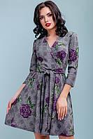 Жіноча сукня розкльошені 42-48 розміру з бузковими квітами, фото 1