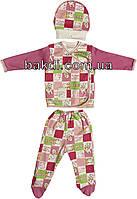 Детский костюм рост 62 (2-3 мес.) интерлок розовый на девочку (комплект на выписку) для новорожденных М-930