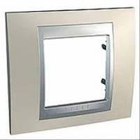 Шнайдер электрик Уника ТОП(Shneider electric Unica TOP Metall) рамка однопостовая титан/алюминий
