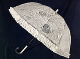 Детский зонтик для девочки с ажурным узором и рюшей  8 спиц цвет белый, фото 4