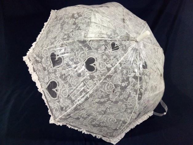 Детский зонтик для девочки с ажурным узором и рюшей  8 спиц цвет белый