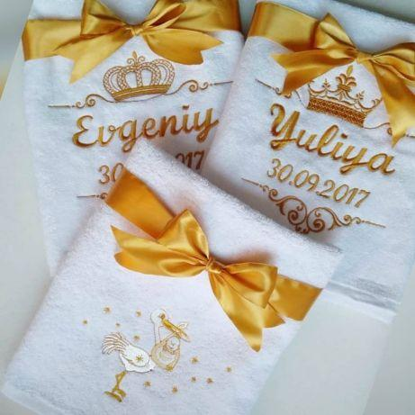 """Вышивка на полотенце. Дизайн """"Рождение малыша""""."""