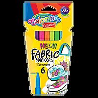 Маркеры неоновые для рисования по ткани 6 цветов Colorino Creative