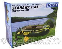 Надувна 2-х місцева човен з веслами і насосом. Розміри 236-114-41 див. Intex 68349, фото 2