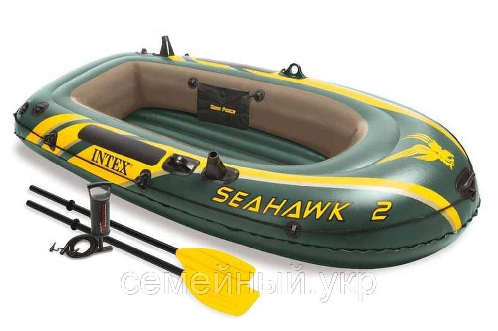 Надувна 2-х місцева човен з веслами і насосом. Розміри 236-114-41 див. Intex 68349
