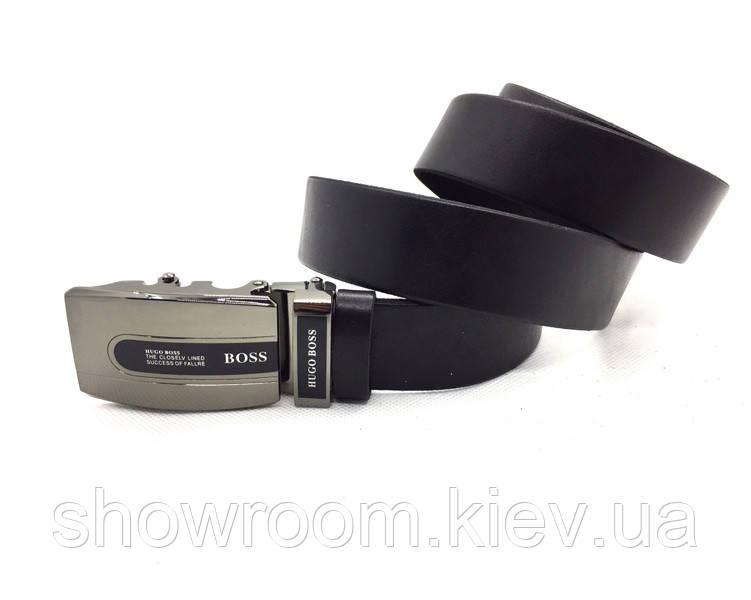 Мужской кожаный ремень с пряжкой автомат Boss (210) черный