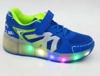 Детские кроссовки с роликом светящаяся подошва Led р. 30-34