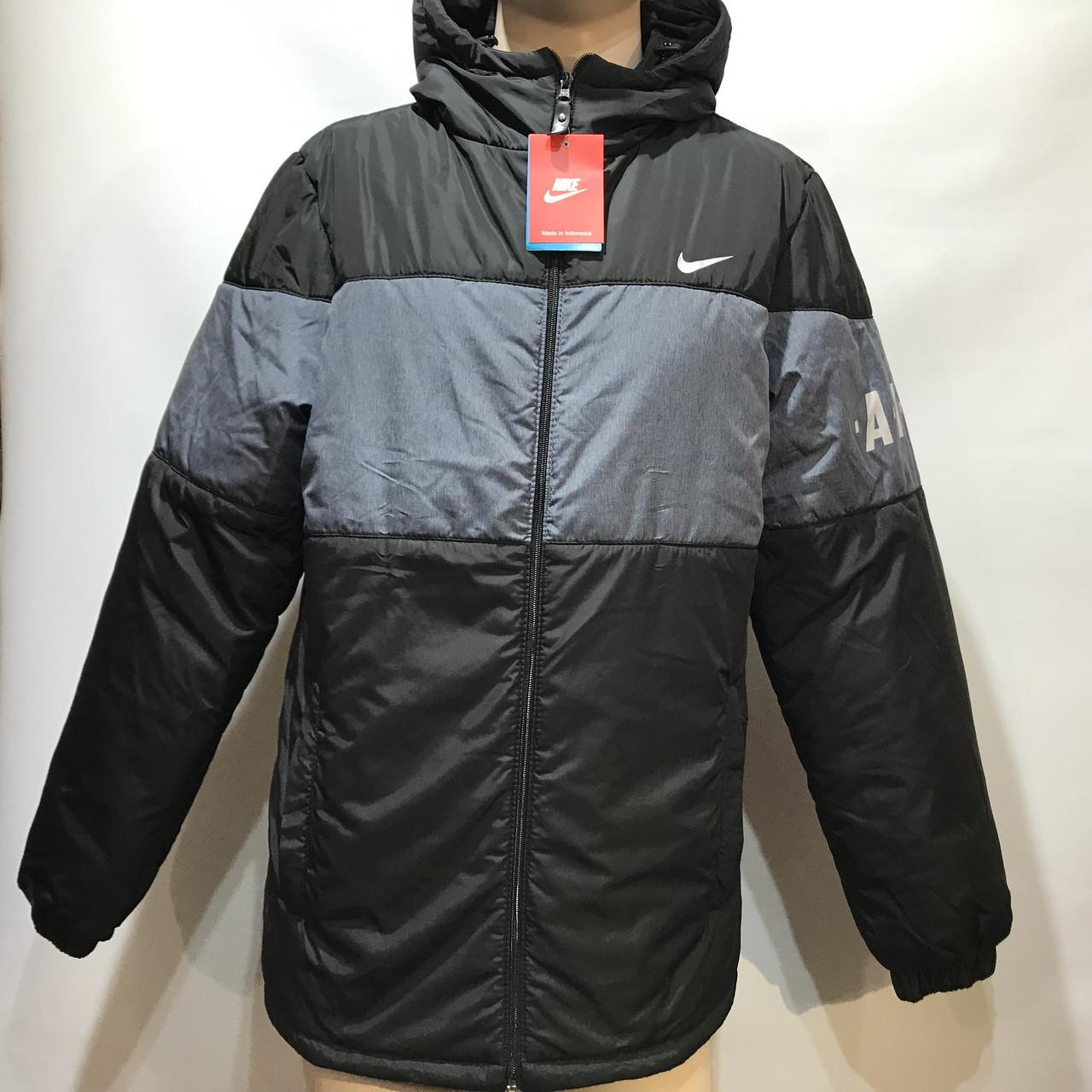 Куртка мужская в стиле Nike демисезонная куртка черная с принтом на груди