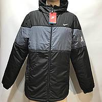 Куртка мужская в стиле Nike демисезонная куртка черная с принтом на груди, фото 1