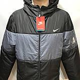 Куртка мужская / демисезонная куртка черная с принтом на груди / размер L, фото 2