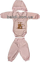 Детский костюм с начёсом рост 62 (2-3 мес.) футер розовый на девочку (комплект на выписку) для новорожденных Р-424