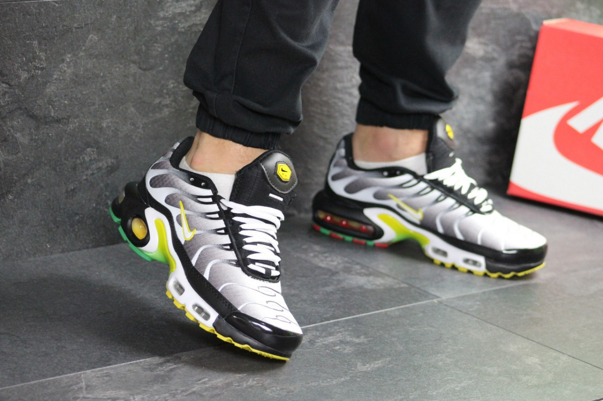 381d86ab Мужские кроссовки весенние серые с белым Nike Air Max Tn (реплика ...