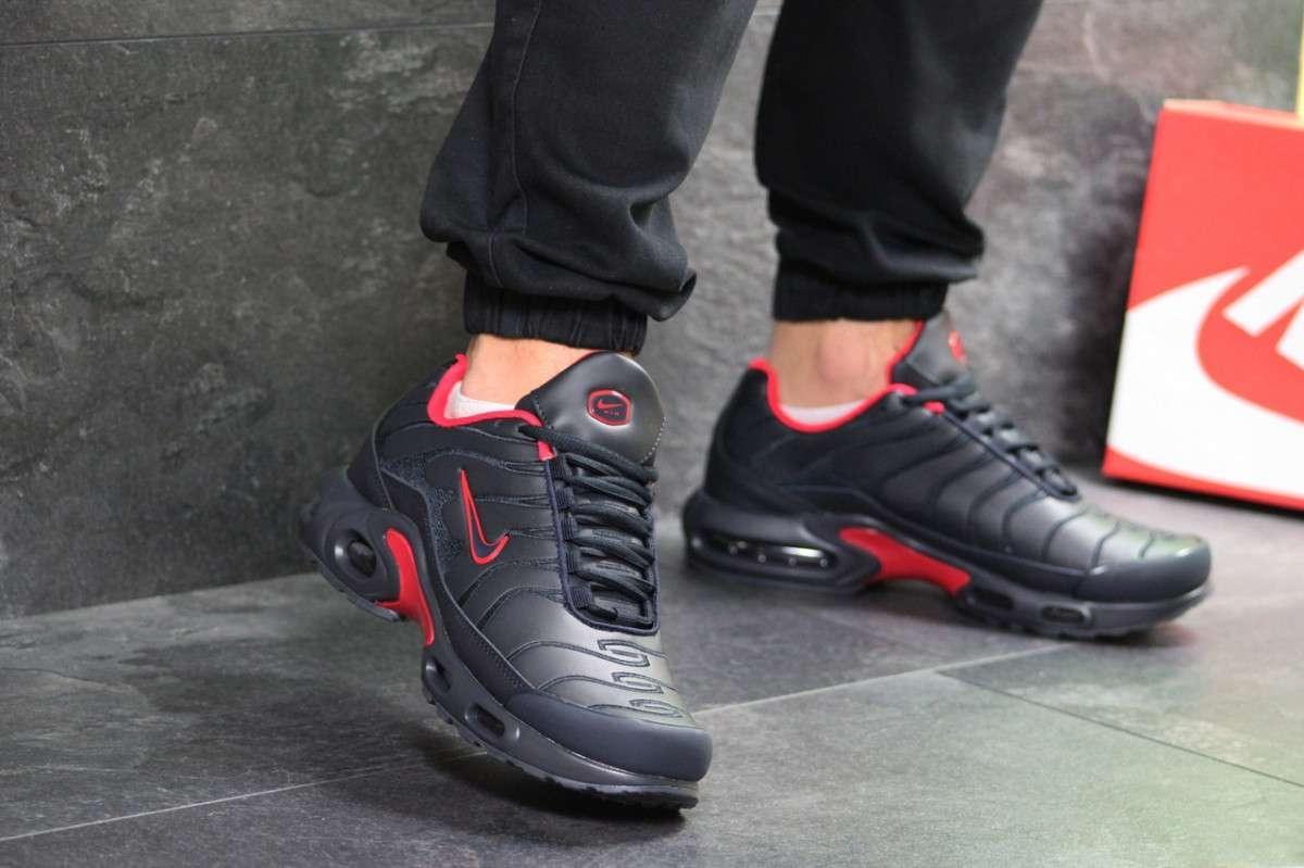 0ba41e1b Мужские кроссовки весенние темно синие с красным Nike Air Max TN 7217 ( реплика)