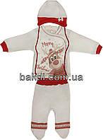 Детский новогодний костюм с начёсом рост 62 (2-3 мес.) интерлок  белый на мальчика/девочку (комплект) для новорожденных  СН-112