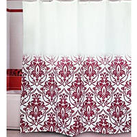 Штора для ванной комнаты  из полиэстера (180Х200 см) декор ALINA бордовый узор Miranda OST-343