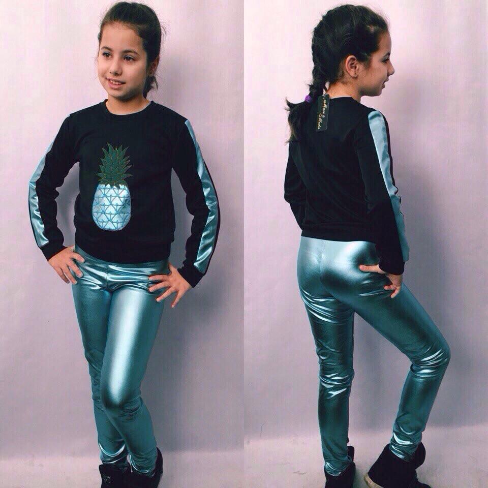 Стильный костюм кожа для девочки батник+лосины