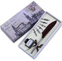 Ручка Перо коричневое набор для каллиграфии стиль винтаж