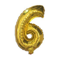 """Фольгированная цифра """"6"""", ЗОЛОТО - 35 см (14 дюймов)"""