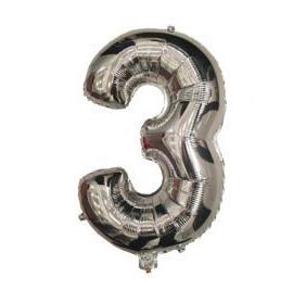 """Фольгированная цифра """"3"""", СЕРЕБРО - 35 см (14 дюймов)"""
