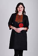 Черное женственное платье с вышивкой
