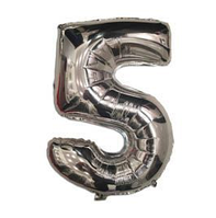 """Фольгированная цифра """"5"""", СЕРЕБРО - 35 см (14 дюймов)"""