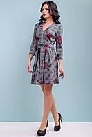 Женское платье расклешенное 42-48 размера с красными розами, фото 1