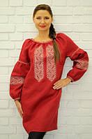 Красное женственное платье с вышивкой