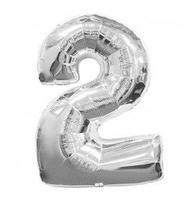"""Фольгована цифра """"2"""", СРІБЛО - 70 см (32 дюйми)"""
