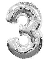 """Фольгированная цифра """"3"""", СЕРЕБРО - 70 см (32 дюйма)"""