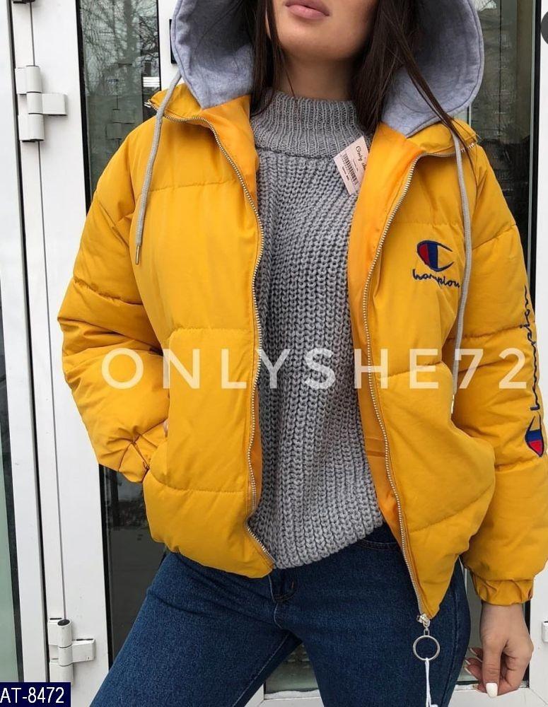Женская демисезонная синтепоновая куртка с капюшоном