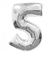 """Фольгована цифра """"5"""", СРІБЛО - 70 см (32 дюйми)"""