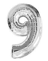 """Фольгована цифра """"9"""", СРІБЛО - 70 см (32 дюйми)"""