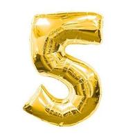 "Фольгована цифра ""5"", ЗОЛОТО - 70 см (32 дюйми)"