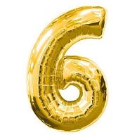 """Фольгированная цифра """"6"""", ЗОЛОТО - 70 см (32 дюйма)"""