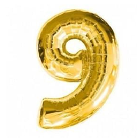 "Фольгована цифра ""9"", ЗОЛОТО - 70 см (32 дюйми)"