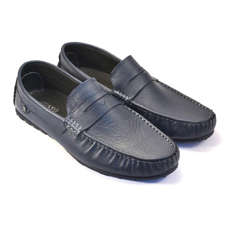 Обувь больших размеров мокасины мужские кожаные ETHEREAL BS Classic Blu by Rosso Avangard синие