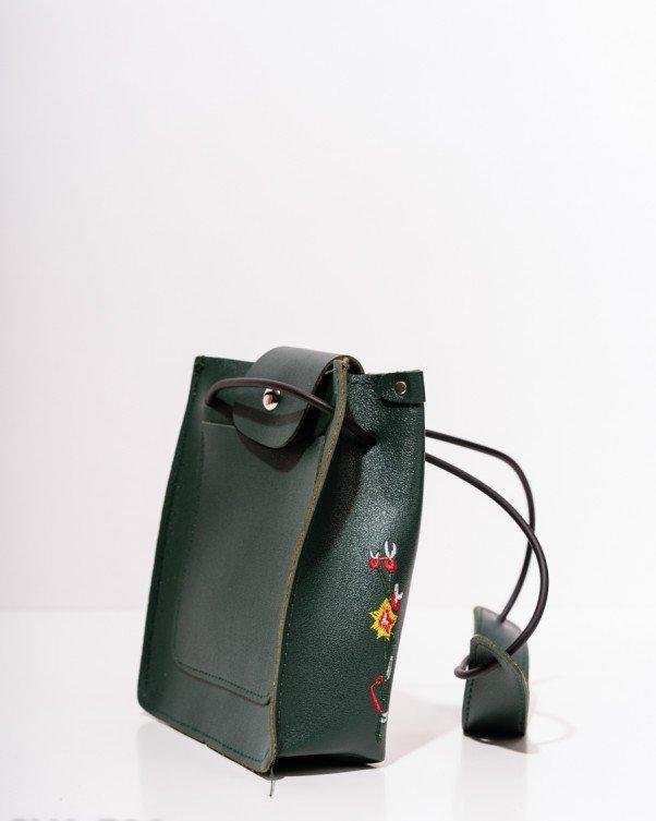 e35db7e2b876 Зеленая маленькая сумка-мешок из эко-кожи, цена 203,10 грн., купить ...
