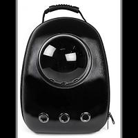 Космический рюкзак-переноска с иллюминатором U-Pet для кошек и небольших собак матовый черный