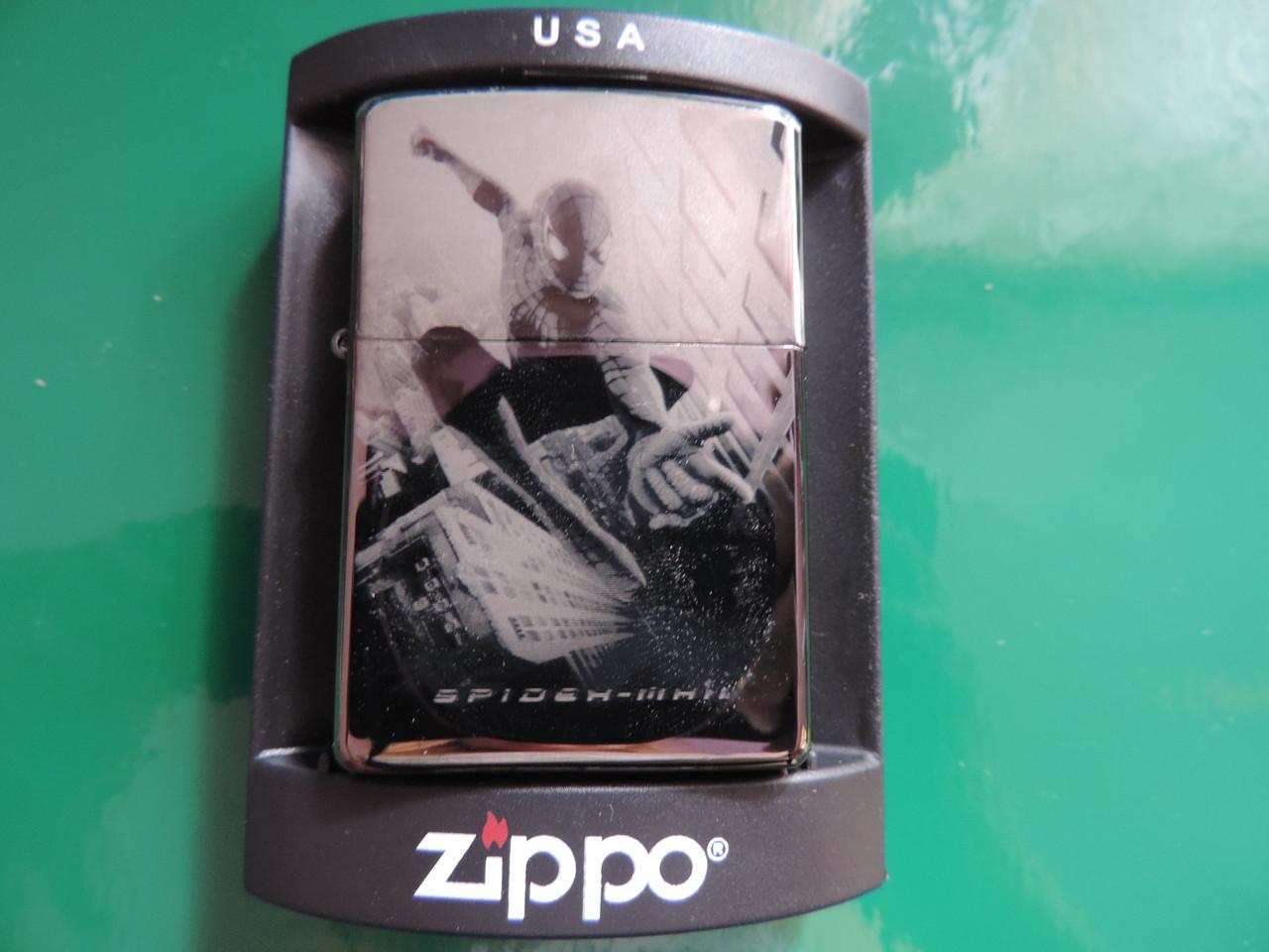 Бензиновая зажигалка ZIPPO «Spider Man». Лазерная гравировка, копия