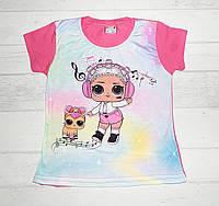 Детская футболка для девочек с LOL 1,2,3,4 года ярко розовый