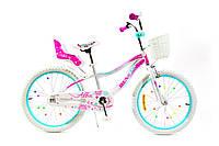 Детский велосипед 20 Benetti Alba с боковыми колёсами, бело-розовый