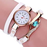 Наручные женские часы с белым ремешком код 208