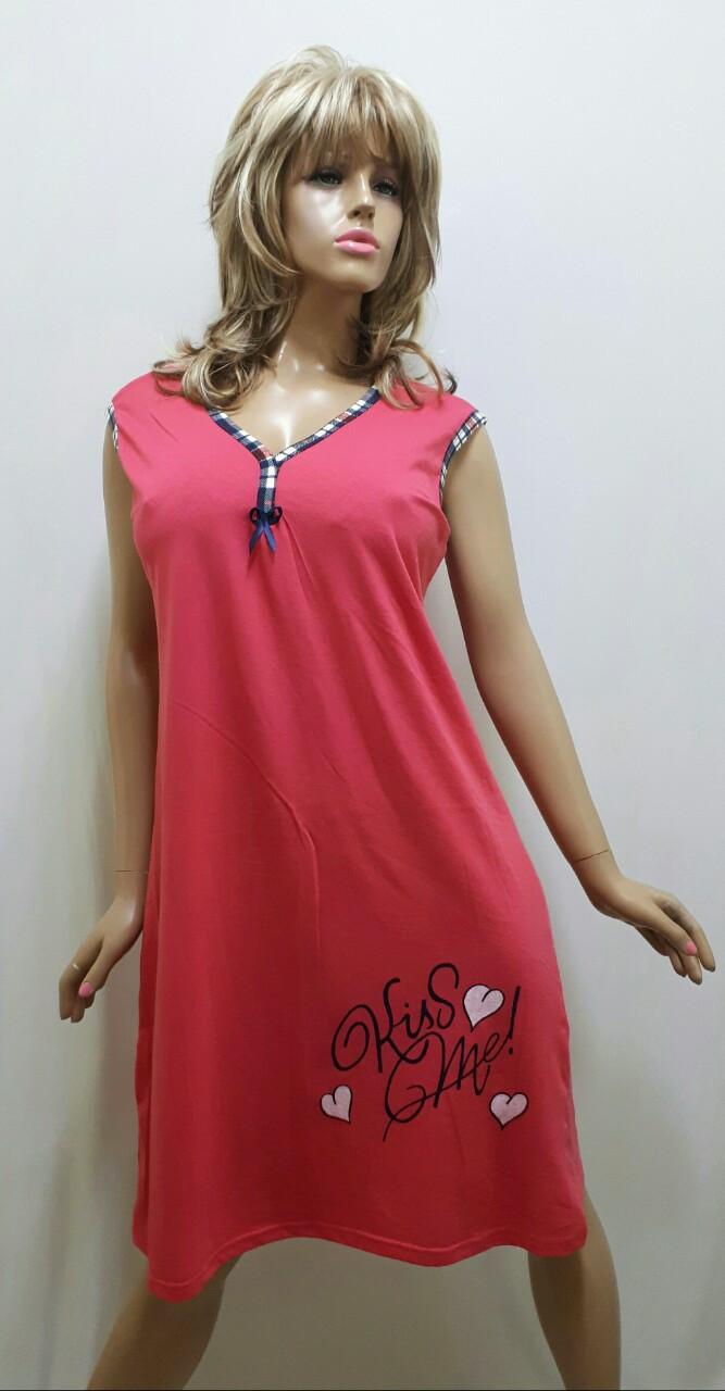 5837f199b2f0660 Женская ночная рубашка больших размеров без рукавов, хлопок 199 -  Интернет-магазин