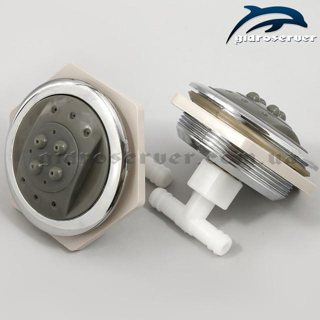 Гидромассажная форсунка для душевой кабины, гидробокса F-06 не поворотная с двумя режимами работы.