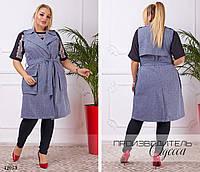 Жакет с карманами под пояс костюмка 48,50,52,54
