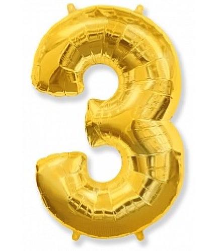 """Фольгированная цифра """"3"""", ЗОЛОТО - 90 см (40 дюймов)"""