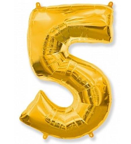 """Фольгированная цифра """"5"""", ЗОЛОТО - 90 см (40 дюймов)"""
