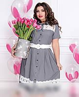 / Размер 48,50,52,54,56,58,60 / Женское платье-рубашка с кружевными вставками / 099-серый