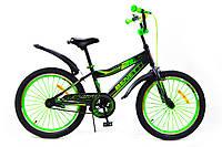 Детский велосипед 20 Benetti Vito с боковыми колёсами, Чёрно-зелёный